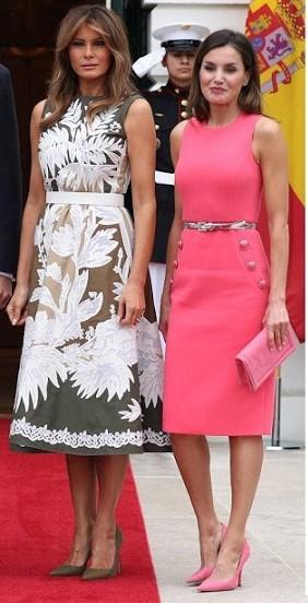 Queen Letizia wore MICHAEL KORS Button Detail Stretch Wool Dress www.newmyroyals.com
