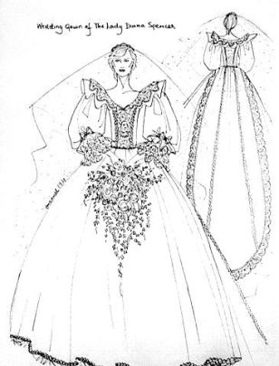 Sketch of Lady Diana's Wedding Dress
