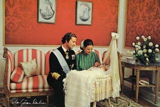 (Kron)prinsessan Victorias dop 27 september 1977. H.M.Konung Carl XVI Gustaf och H.M.Drottning Silvia.
