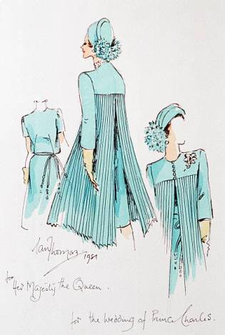 LONDON, UNITED KINGDOM - SEPTEMBER 25: A Sketch Of A Dress Designed For The Queen By Designer Ian Thomas Worn For Prince Charles' Wedding (Photo by Tim Graham/Getty Images)