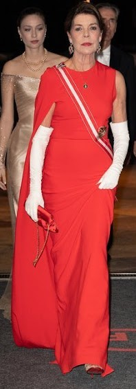 Princess Caroline wore Stella McCartney Cecilia cape-effect cady gown www.newmyroyals.com