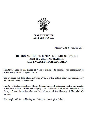 harry meghan engagement announcement