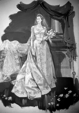 An artist's impression of Princess Elizabeth's wedding gown designed by Norman Hartnell for the wedding of Princess Elizabeth and Lieut. Phillip Mountbatten RN. It is a gown of ivory duchesse satin, cut on classic lines, with fitted bodice, long tight sleeves and full falling skirt.