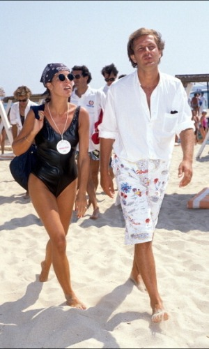 FRANCE - AUGUST 01: Caroline, Stefano and Albert In Saint Tropez, France On August 01, 1988. (Photo by Patrick SICCOLI/Gamma-Rapho via Getty Images)