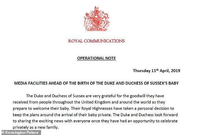 harry meghan baby communication
