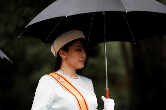 Japan's Princess Mako arrives at the ceremony site where Emperor Naruhito will report the conduct of the enthronement ceremony at the Imperial Sanctuary inside the Imperial Palace in Tokyo