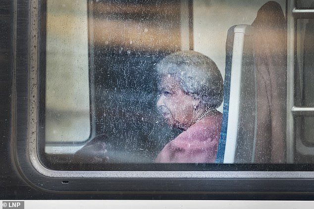 the queen on train